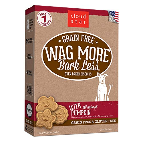 Bones Oven Baked Treats - Cloud Star Wag More Bark Less Grain Free Oven Baked Treats with Pumpkin -14 oz.