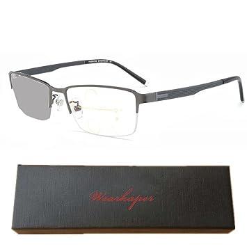 9765b0caa2c WEARKAPER Transition Sun Photochromic Progressive Reading Glasses  Multifocal Eyeglasses (2.25X