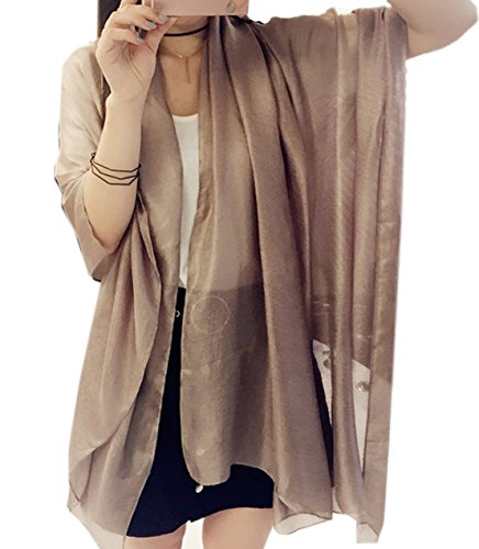 Women's Cozy Viscose Solid Color Blanket Oversized Scarf Wraps Shawl Sheer Gift (Golden)