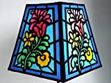 Vibrant Folk Art Flower Stained Glass-look Fabric Hand Painted Lampshade