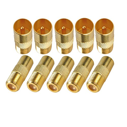 (SaferCCTV Gold Plated Push-on Quick Connector, F Female to PAL Male 9.5mm TV Satellite Antenna RF Coax Adapter-10 pcs)