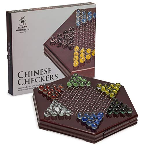 (Yellow Mountain Imports Chinese Checkers, Halma Wooden Game Set (12 inch Set) - Built-in Storage Drawers - with Cherry Colored Finish & 6 Multi-Colored Marble Set, 14mm)