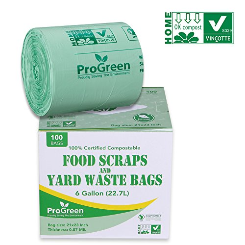 GreenPro ProGreen 100% Compostable Bags 6 Gallon, Extra Thick 0.87 Mil, 100 Count, Small Kitchen Trash Bags, Food Scraps Yard Waste Bags, Biodegradable ASTM D6400 BPI and VINCOTTE Certified ()