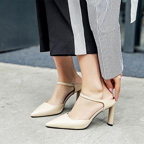 Jqdyl High Heels Damen Einzel Schuhe Spitze Grob High Heels Fashion Sandalen  39|Apricot