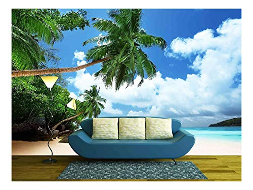 wall26 - Beach on Mahe Island in Seychelles - Removable Wall Mural | Self-Adhesive Large Wallpaper - 100x144 inches (Wallpaper Indian)