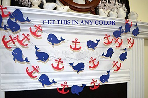 Whale Garland, Nautical Anchor Whale Decoration, Nautical Baby Shower, Grey  Navy Whale Teal