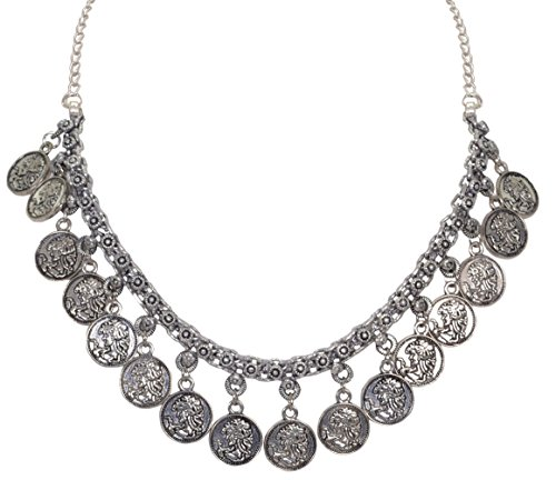 d Silver Plated Mini Coin Choker Traditional Indian Necklace for Girls and Women ()