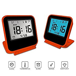 FlatLED Travel Alarm Clock, LCD Ultra-thin Clamshell 12/24 Hour with Temperature Date Week Repeating Snooze LCD Digital Screen Alarm Clock (Orange)