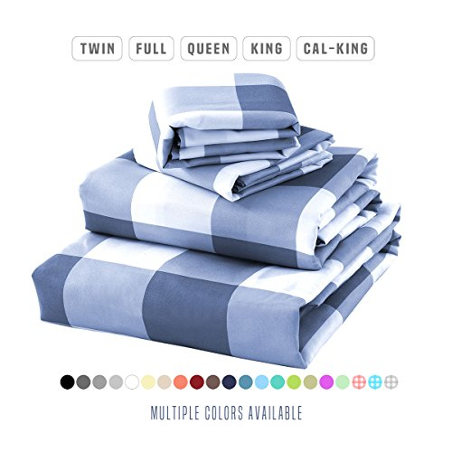 Luxe Bedding Bed Sheet Set – Brushed Microfiber 2000 Bedding – Wrinkle, Fade, Stain Resistant – Hypoallergenic – 4 Piece – Unique Christmas Presents for family (Queen, Gingham Blue)