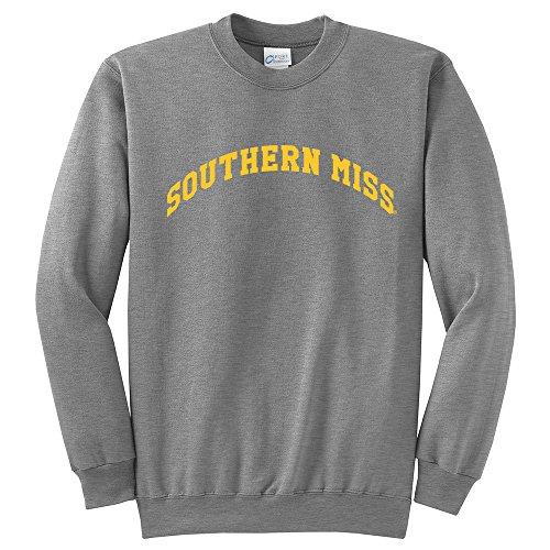 Campus Merchandise NCAA Southern Mississippi Arch Classic Crewneck Sweatshirt, Light Heather Grey, Medium ()