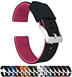 Barton Elite Silicone Watch Bands - Quick Release - Choose Strap Color & Width - Black/Pink 20mm