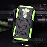 LG G3 Case, Cocomii Robot Armor NEW [Heavy Duty] Premium Belt Clip Holster Kickstand Shockproof Hard Bumper Shell [Military Defender] Full Body Dual Layer Rugged Cover (Green)