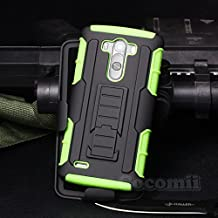 Cocomii Robot Armor LG G3 Case NEW [Heavy Duty] Premium Belt Clip Holster Kickstand Shockproof Hard Bumper Shell [Military Defender] Full Body Dual Layer Rugged Cover for LG G3 (R.Green)