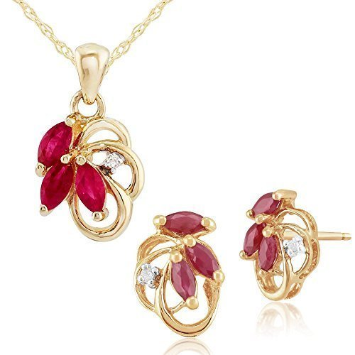Gemondo Bague Or Jaune 9ct Rubis Naturel et diamant 0,45ct Boucles d'oreilles clous Motif floral & Parure Collier 45cm