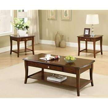 Furniture Of America 3 Piece Lensar Table Set Dark Oak Finish