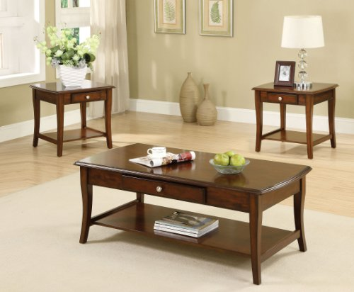 Furniture of America 3-Piece Lensar Table Set, Dark Oak Finish