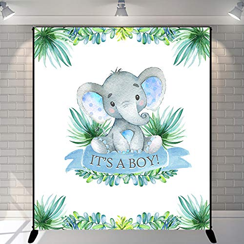 Mehofoto Elephant Baby Shower Backdrop It's A Boy Peanut Baby Shower Photography Background 5x6ft Vinyl Baby Shower Party Banner Decoration]()