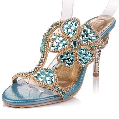 casual nuovi sandali blue fiore signore strass lusso moda all'aperto YMFIE di con Estate zBqWn6Zg