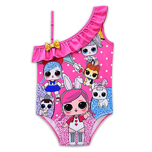 Rohero Toddler Baby Girls Swimsuits One-Piece Doll Print Ruffle Swimwear Bathing Suit for Doll Surprised (130cm/ 7-8Y, Zipper Rose 1)
