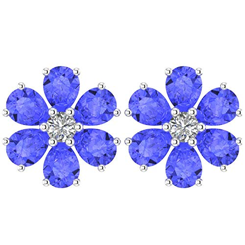 (Solid Sterling Silver Pear-Shaped 1.64carats Tanzanite Flower Style Summer Cute Stud Earrings for Women, Fine Jewelry High Polished Sterling Silver Studs)