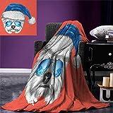 smallbeefly Yorkie Warm Microfiber All Season Blanket Terrier a Blue Santa Hat Mirror Aviator Glasses Fun Hand Drawn Animal Print Artwork Image 62''x60'' Coral White Blue