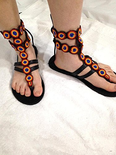 f5f0abeaf23 Amazon.com  Roman Bead Gladiator Womens Leather Sandals With Colorful Beads