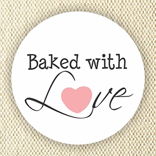 Baked with Love Stickers - Treat Favor Bag Labels - Set of 40 Labels