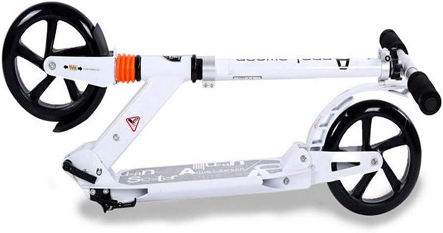 キックスクーター 大人の青少年の子供のための携帯用折りたたみ大きい車輪のスクーター、女性の男性のための調節可能なハンドルバーが付いている超軽量の通勤蹴りのスクーター、非電気、220ポンド容量 (色 : 白) 白