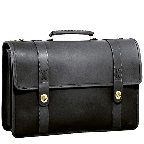 CrookhornDavis Men's American Bullhide Leather Messenger Briefcase, Black