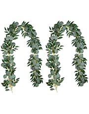 Teabelle 2 Pack 13 Feet Artificial Eucalyptus Leaves Greenary Garland with Willow Vines Twigs Leaves Hanging Plants for Wedding Party Home Centerpiece Table Runner Indoor Outdoor Decor