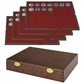 Lindner Echtholz Münzkassette Mit 4 Tableaus Für 140 Münzen Mit ø 32