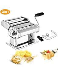 Pasta Maker Deluxe Set, Elegant Life Sturdy Homemade 150mm Pasta Maker Machine All in one 7 Thickness Settings for Fresh Fettuccine Spaghetti Lasagne Dough Roller Press Cutter Noodle Making Machine