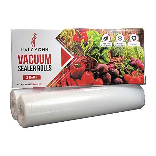 (2 Pack Halcyonn Vacuum Sealer Rolls 11 X 16 - Thick Heavy Duty Resealable Vacuum Sealer Bags For Vacuum Sealer Machine - Sous Vide - Freezer - Bpa Safe - 2 Large Reusable Kitchen Storage Bags (2))