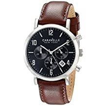 Bulova 43B140 Caravelle New York Men's Quartz Chronograph Watch with Black Dial and Brown Leather Strap