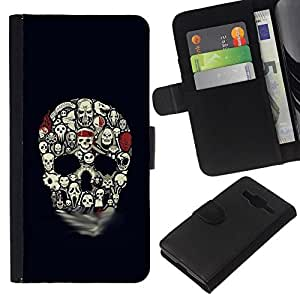 All Phone Most Case / Oferta Especial Cáscara Funda de cuero Monedero Cubierta de proteccion Caso / Wallet Case for Samsung Galaxy Core Prime // Skull Pattern Haunted Halloween Black