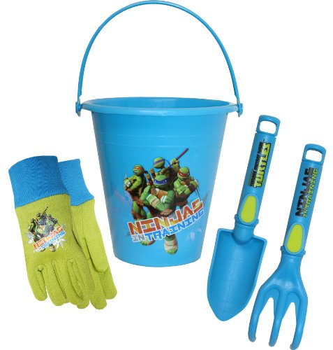 Ninja Turtle Buckets (Teenage Mutant Ninja Turtles (TMNT) Kids Gloves with Bucket, Trowel and Cultivator Combo Pack, TM14P01, Size:)