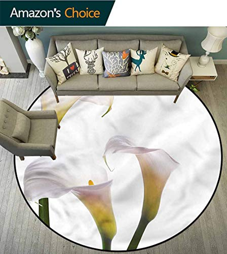 RUGSMAT Flower Super Soft Circle Rugs for Girls,Calla Lilies Romantic Lifts Basket Swivel Chair Pad Coffee Table Rug Round-51