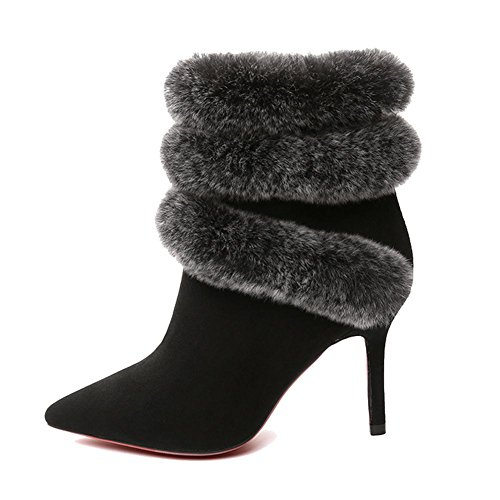 Women Short Ankle Boots Thick Plush High Heels Leather Low Tube Side Zipper Warm Comfortable Shoes BLACK-39 PwlYn