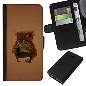KLONGSHOP // Tirón de la caja Cartera de cuero con ranuras para tarjetas - Divertido Weird Owl - LG OPTIMUS L90 //