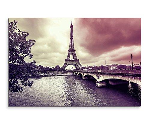 120x 80cm XXL énormes Photos montée avec cadre en bois véritable Mauve Tour Eiffel hiver pluie Paris
