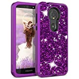 Moto E5 Plus Case, WeLoveCase Moto E5 Supra case Luxury Glitter Sparkle Bling 3 in 1 Shockproof Three Layer Heavy Duty Hybrid Protective Cover Case for Motorola Moto E5 Plus Smartphone Purple