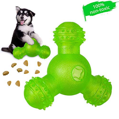 - Skywoo Interactive Dog Toys, IQ Treat Dog Chew Toys 3 Holes Food Dispensing Tough Tooth Cleaning Natural Rubber Bite Resistant Pets Toys for Small and Medium Dogs
