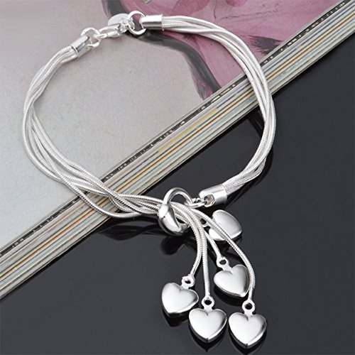 Xfome Style 925 Sterling Silver Five-line Chain with Five-heart Bracelet Bangle