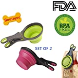 Collapsible pet scoop for dog cat food water, silicon measuring cup bowls set of 2, foldable bag clip for pets green/purple by Vanshchan.