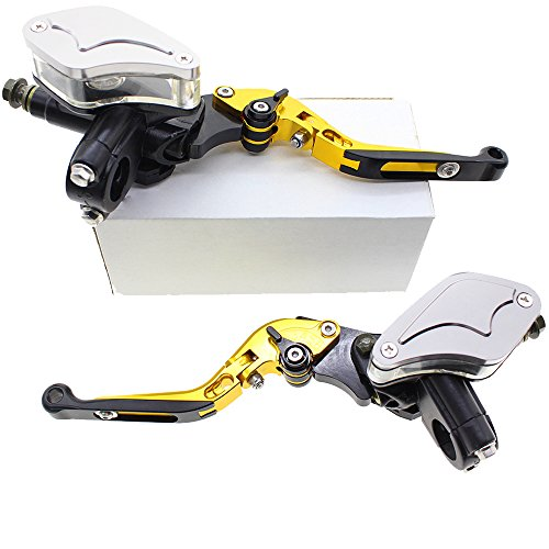 Fxcnc Cnc Master Cylinder Reservoir Hydraulic Folding Extending Brake Clutch Levers Universal Fits 50Cc To 400Cc Street Motorcycle And Scooter Aluminum Gold Silver