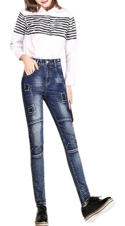 Lingswallow Women's Fashion Jeans Patch Straight Slim Fit Denim Pants Blue