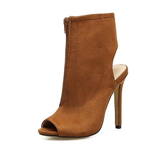 ZHZNVX Boca de Pescado sandalias de tacón sexy boca de pescado sandalias de tacón alto talón zapatos zapatos de mujer Light Brown