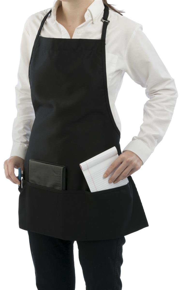 Displays2go 3 Pocket Restaurant Bib Apron, Black Polyester/Cotton, Set of 10 by Displays2go