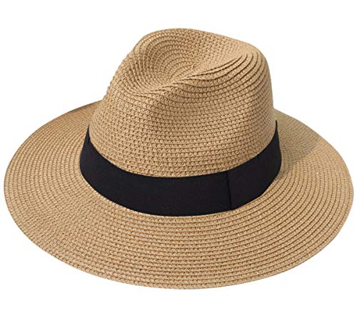 Lanzom Women Wide Brim Straw Panama Roll up Hat Fedora Beach Sun Hat UPF50+ (A-Brown)