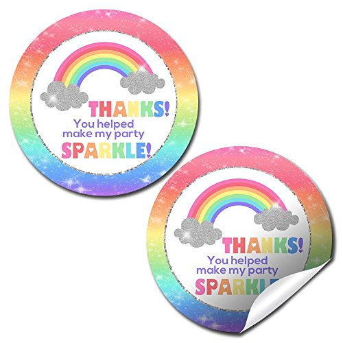 Rainbow Sparkle Birthday Party Thank You Sticker Labels, 40 2